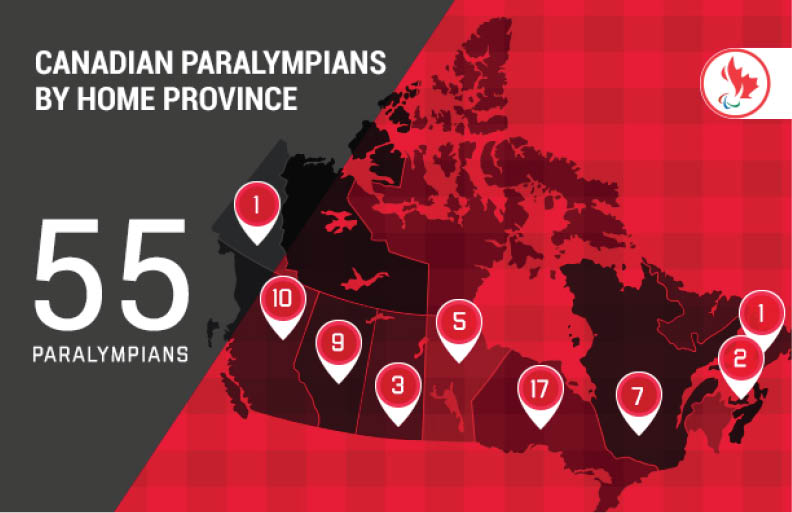 Map of Canada representing athletes provinces