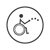 Boccia - Stick person throwing a ball underhand from their wheelchair (grey and white)