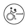 Para table tennis - Stick person in a wheelchair facing a table about to serve (grey and white)