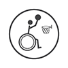 Wheelchair Basketball - Stick person in a wheelchair shooting a basketball to the net (grey and white)