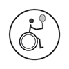 Wheelchair Tennis - Stick person in a wheelchair holding their racket in the air (grey and white)