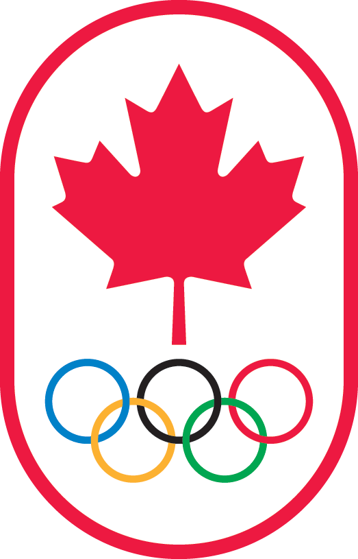 Canadian Olympic Committee logo, red oval with olympic rings within it
