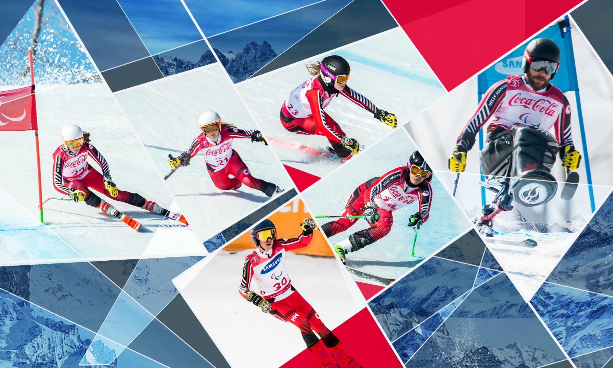 Background images of multiple athletes skiing around their gates