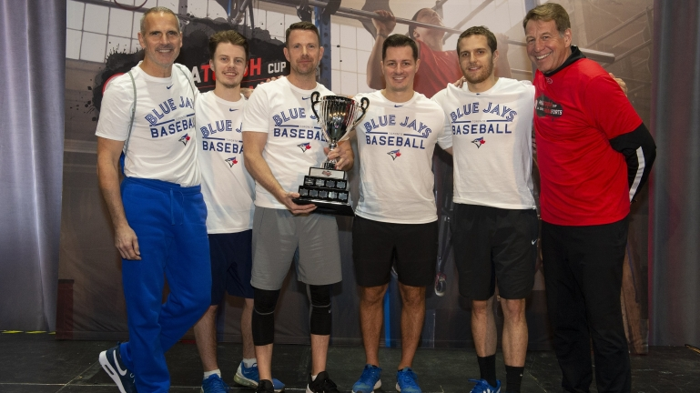 Winning team Toronto Blue Jays with the 2019 ParaTough Cup trophy in Toronto.