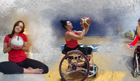 Collage of athletes - Billy Bridges sitting with para ice hockey sticks, Shacarra Orr holding a volleyball, Tara Llanes lining up her basketball, melanie Labelle sitting in her wheelchair lining up a ball / puck, and Nic Turbide lining up the basketball