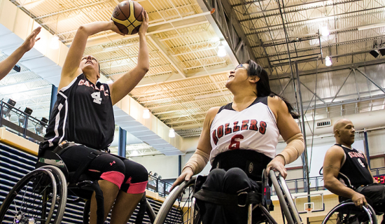 Wheelchair basketball practice on a court