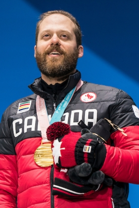 Kurt Oatway collecting his gold medal at the PyeongChang 2018 Paralympic Winter Games